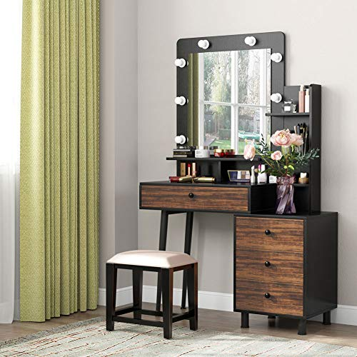 Tribesigns Vanity Table with Lighted Mirror, Vintage Makeup Dressing Table with Large Drawer and 3-Drawer Chest, Dresser Table for Women (Rustic)