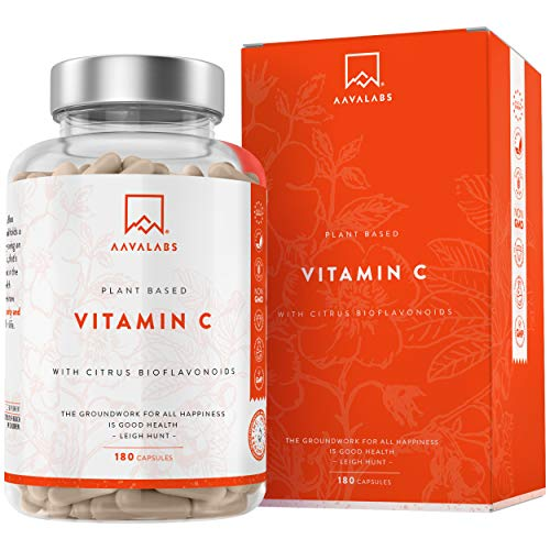 Natural Vitamin C High Strength - 180 Capsules - 100% Vegan Acerola Fruit Extract - with Natural Citrus Flavonoids, Rosehip, Camu Camu - Supports Nervous System, Immune Function - 3 Months Supply