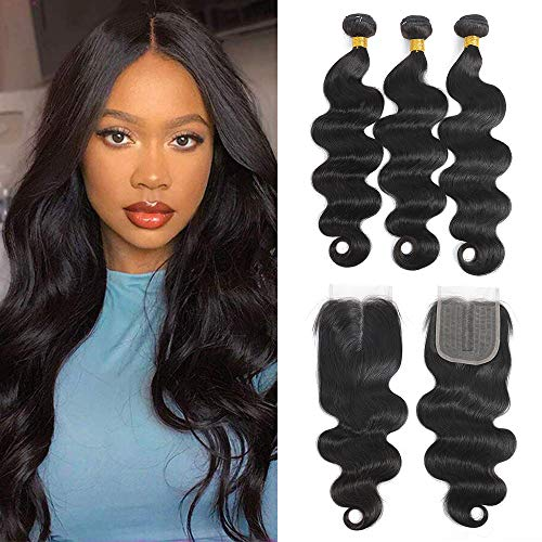 Brazilian Remy Virgin Body Wave Hair 3 Bundles with T-Part Lace Closure Middle Part (14 16 18 +12'Closure) 9A 100% Unprocessed Virgin Remy Body Wave Human Hair Bundles with Closure by ELEE'S HAIR Natural Black