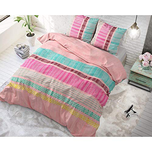SleepTime Bettwäsche Baumwolle Achie, 200cm x 220cm, Mit 2 Kissenbezüge 60cm x 70cm, Rosa