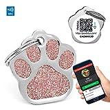 PERDIDUS Placa Identificativa para Perros Shine QR con NFC y GPS, (Rosa)