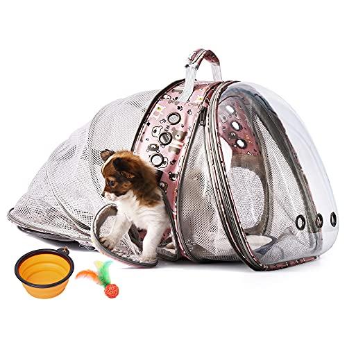 HOTLANTIS Katzenrucksack Kleiner Hunderucksack, Erweiterbar mit atmungsaktivem Mesh, Airline-zugelassen, für Reisen, Wandern, Spazierengehen & Outdoor-Einsatz (pink)