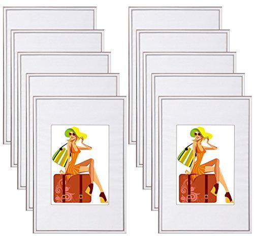 WOLTU #315 Bilderrahmen Bildergalerie Fotogalerie mit Passepartout, Foto Collage Galerie, Kunststoff und Echtglas, New Life Style, Silber, 10x15 cm, 10er Set