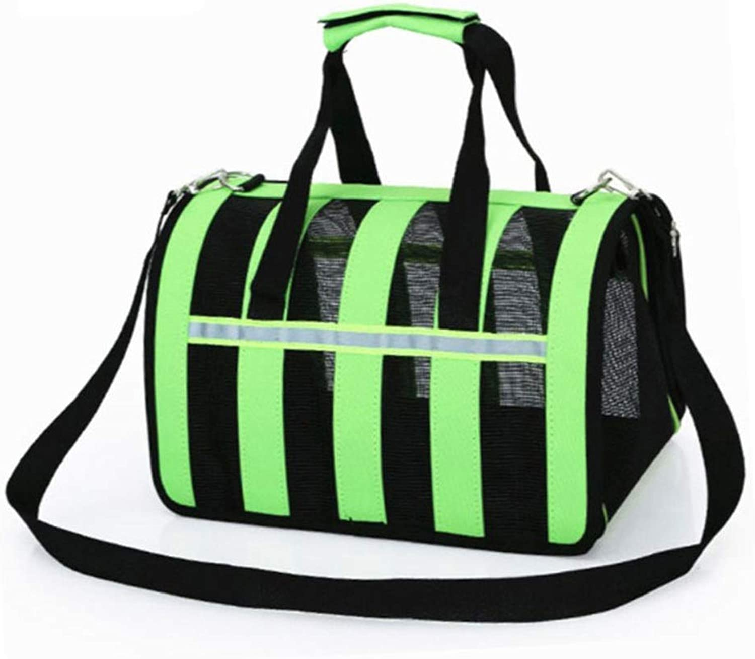 HYUE Breathable Mesh Foldaway Cat Dog Out Portable Backpack Gravid Capacity Pet Bag (color   Green, Size   L)