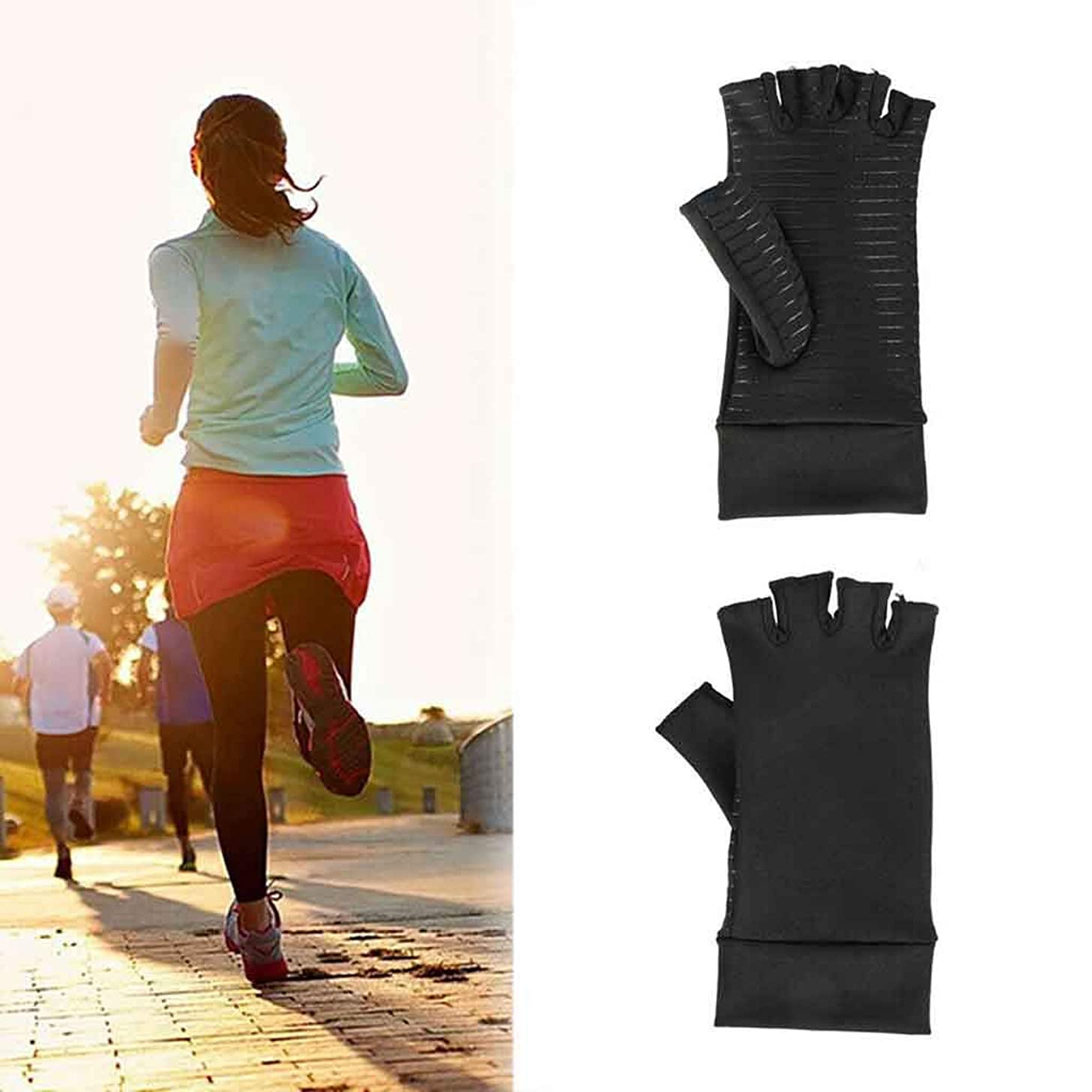 Fine Compression Arthritis Gloves,Arthritis Gloves Pain Relief Fingerless Compression Glove Speed Up Recovery & Relieve Symptoms of Arthritis