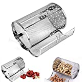 GEZICHTA BBQ Grill Roaster,Stainless Steel Grilled Cage,BBQ Rolling Grill Basket for Vegetables,Rotisserie Grill Peanut Beans French Fries Basket,Silver Grilling Accessories(2211.7 cm)