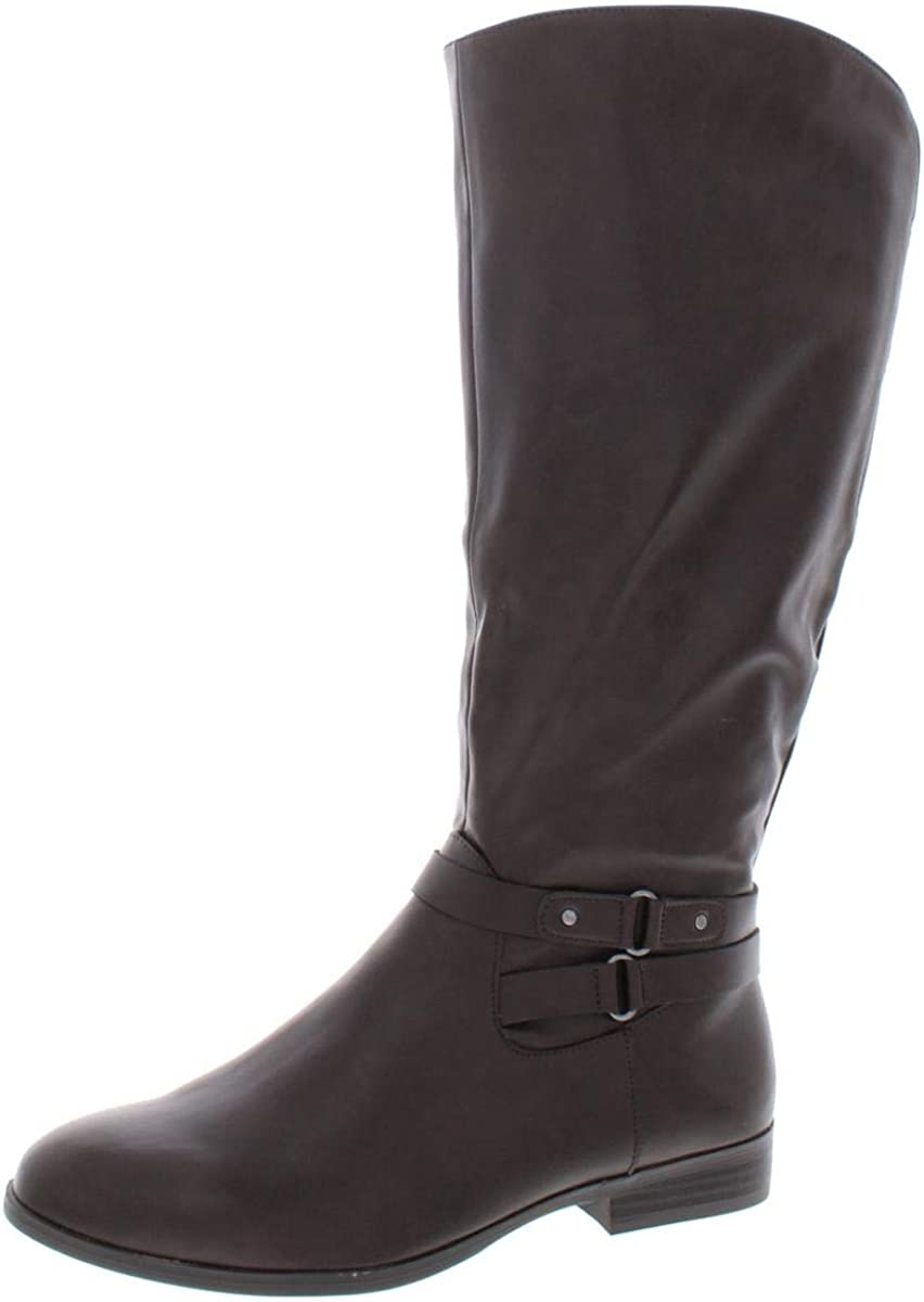 Style & Co. Womens Kindell Almond Toe Knee High Riding Chocolate