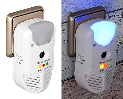 EXBUSTER Anti Mosquitos: Repelente de plagas ultrasónico 3 en 1, Purificador de Aire y luz Nocturna PIR (Repelente de Insectos)