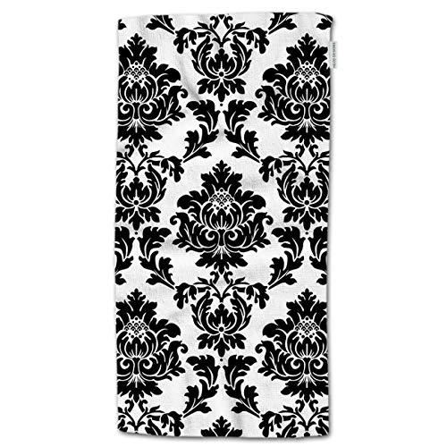 "HGOD DESIGNS Flower Hand Towels White Black Damask Flower Floral Soft Hand Towel for Bathroom Kitchen Yoga Gym Decorative Towels 15""X30"""