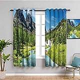 Colección de cortinas de diseño de bosque de pino para dormitorio, selva tropical y montañas rocosas, paisaje Siberia Whitewater Picture fácil de limpiar azul verde W72 x L72 pulgadas