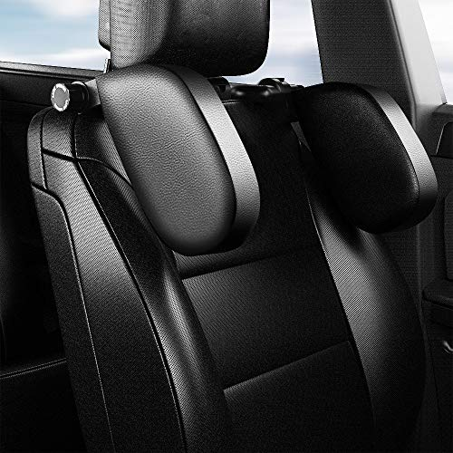 Bilsäte nackstöd kudde bil resa nackstöd justerbar PU-läder huvud nackkudde nackstöd för resa sömn nackstöd – svart