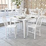 Flash Furniture Juego de 2 sillas de metal, para uso en interiores y exteriores, calidad comercial, color Blanco