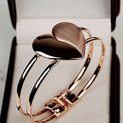 Moent Lady Elegant Heart Bangle Wristband Bracelet Cuff Bling Gift,Valentines Day Anniversary Birthday Jewelry Gifts for Her Wife Girlfriend Gold