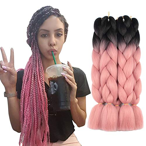 5 Pieces 2 Tone Ombre Braiding Hair Crochet Braids Synthetic Hair Extensions 24 Inch...