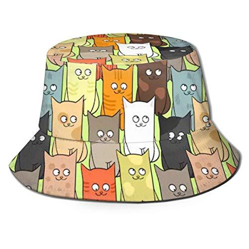 136 Sombrero de viaje unisex con diseño de gatos divertidos, sombrero de playa, sombrero de pescador, para actividades de Ourtdoor