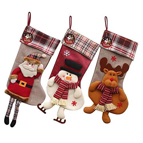 Auoinge Weihnachtsstrümpfe, 3 Stück, 45,7 cm, 3D-Plüsch, niedlich, Weihnachtsmann, Schneemann, Rentier, Socken, Dekoration mit Schlaufen zum Aufhängen Long Leg Family