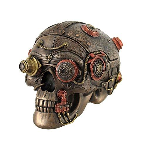Resin Decorative Boxes Bronze Finish Leather Look Gearhead Steampunk Skull Trinket/Stash Box 6 X 5 X 4.5 Inches Bronze