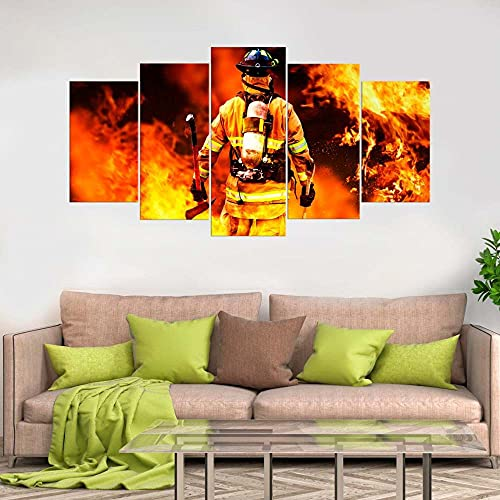 GSDFSD Art Canvas Prints Wall Art Flame and Fireman Party 200X100 Cm Non-Woven Canvas Prints Image Artwork Painting Picture Photo Home Decoration 5 Pieces Frameless
