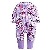 FEESHOW Neugeborenen Unisex Baby Strampler Baby Mädchen Jungen Langarm Overall Bodysuit Säugling Süße Schlafanzug Ohne Füßen Baumwolle Lila C 92-98