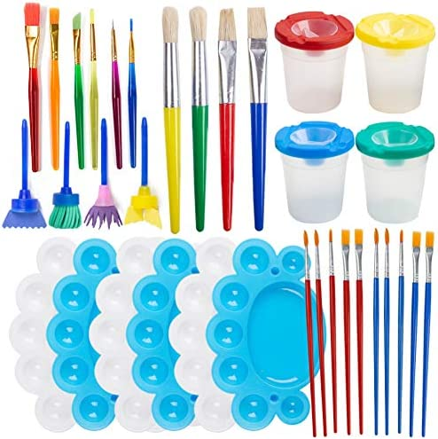 BigOtters Painting Tool Kit 34Pcs Paint Supplies Include Paint Cups with Lids Palette Tray Multi product image