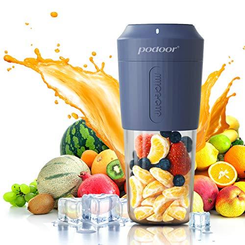 Mixer Smoothie Maker, Podoor Tragbarer Mixer für Smoothies und Shakes mit 3000mAh Batterie, 24.000 U/Min, BPA-Free Kompakter Juicer Blender Elektrisch für Haushalt, Reise, Outdoor-350ml