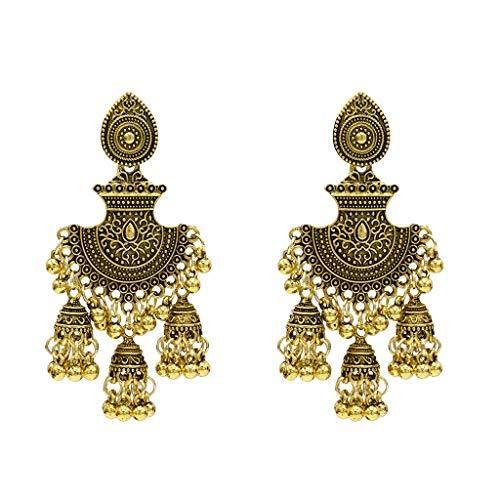 Ydhsja - Pendientes de estilo retro con diseño de Campanas Gland Jhumka para mujer, estilo indio gitano