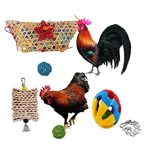 lossomly Juego de juguetes de gallina tejida, juguete para colgar, bola de masticar cepillada, juego divertido para gallinas
