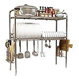 YLKCU Soporte escurreplatos Organizador de Estante de Cocina de Acero Inoxidable 304, Cuenco de Secado de Piscina de 2 Capas