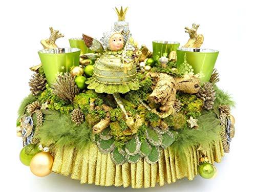 Adventskranz AURUM BOTANICA grün-gold Teelichter Handmade Froschkönig moderner Weihnachtskranz Eule Deko Weihnachten Landhaus Luxus Adventsdeko Elfe