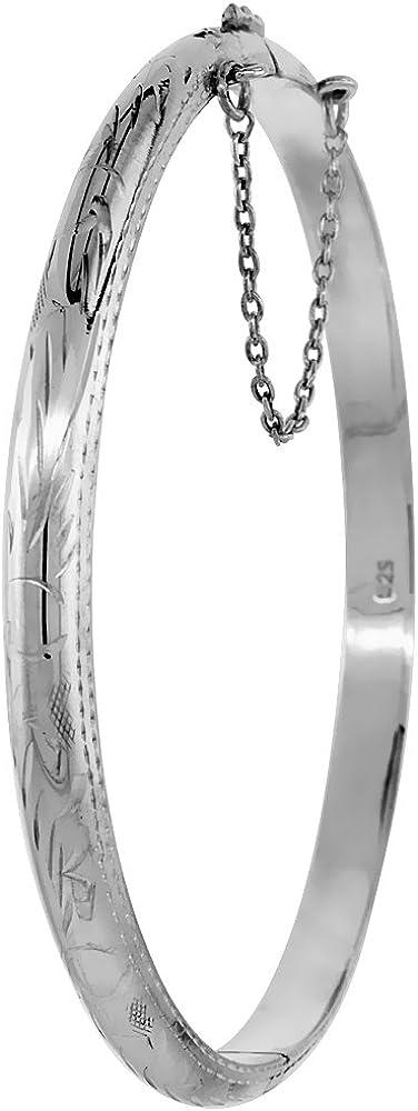 Sterling Silver Bangle Bracelet Floral Pattern Hand Engraved Thi