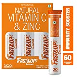 Fast&Up Charge with Natural Vitamin C and Zinc for Immunity - 60 Effervescent