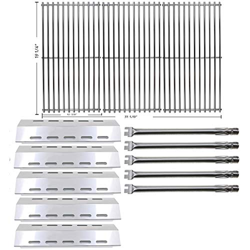 Hisencn Repair kit Replacement for Ducane 30400042, 30400043, 30558501 Gas Stainless Steel Grill Burner Tube, Heat Plates Tent Shield, Cooking Grid Grates
