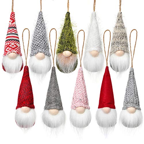 Christmas Tree Hanging Gnomes Ornaments Set of 10, Swedish Handmade Plush Gnomes Santa Elf Hanging Home Decorations Holiday Decor
