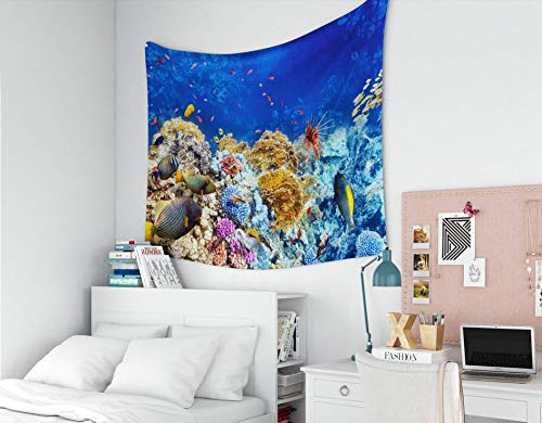 N\A Tapiz para Colgar en la Pared, tapices Deacutecor, Sala de Estar, Dormitorio para el hogar, por Printed for Wonderful and Beautiful Underwater World con corales y Peces Tropicales