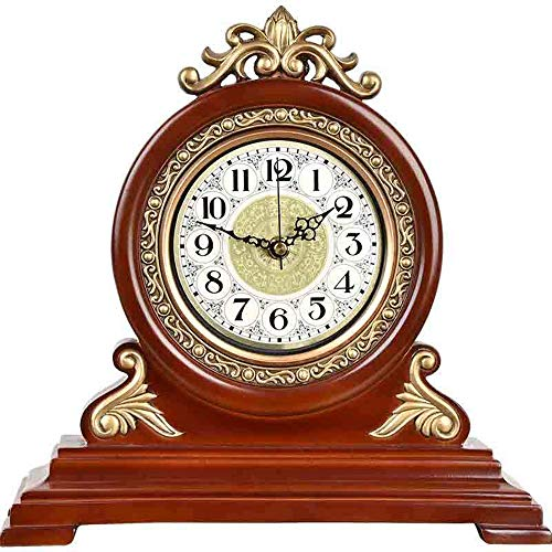 NOBGP Mantel Reloj de Madera silenciosa Decorativa Reloj de Escritorio batería operada Gran diseño Antiguo con números árabes para Sala de Estar Oficina Cocina Estante hogar decoración Regalo