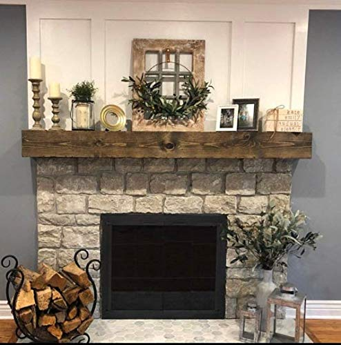 fireplace mantel mounting hardwares RoCoWood Rustic Handmade Floating Wooden Beam Mantel (84 inches, Special Walnut)