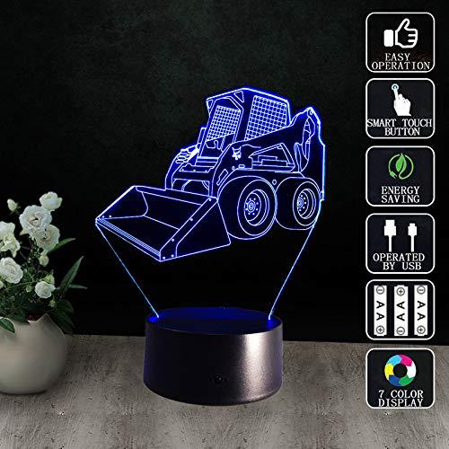 Yujzpl 3D-illusielamp Led-nachtlampje, USB-aangedreven 7 kleuren Knipperende aanraakschakelaar Slaapkamer Decoratie Verlichting voor kinderen Kerstcadeau-Heftruck