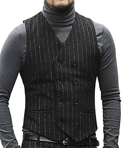 Herren Formale Nadelstreifen Anzug Weste Tweed/Wolle Slim Fit Bräutigam Smoking Weste Für Hochzeit(XXXL, schwarz)