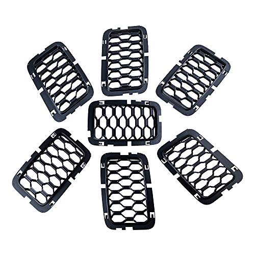 Anzio Compatible with 17-20 Grand Cherokee 7X Front Matte Black Front Mesh Honeycomb Grill Inserts