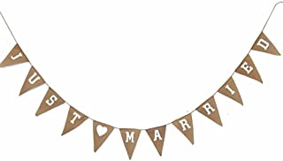 """JUST MARRIED""Printed Linen Bunting 3M/10Feet Flag Banner Pennant Flag Garlands Fabric Triangle Flags Double Sided Vintage Cloth Shabby Chic Decoration for Rustic Wedding"