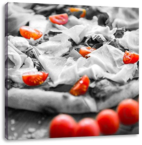 Pizza met ham en tomatenCanvas Foto Plein | Maat: 40x40 cm | Wanddecoraties | Kunstdruk | Volledig gemonteerd