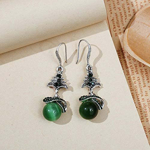 XCWXM Fashion Lady Wedding Earrings Opal Tree Red Crystal Rhinestone Opal Pendant Earrings Green