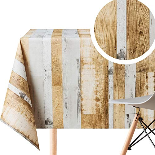 Wooden Rustic Plank Wipe Clean Tablecloth - Rectangle 250x140 cm 98x55in - 8 Seats - Waterproof Vinyl PVC Wipeable Plastic Table Cover - Outdoor Dining Table Cloths Brown Grey Natural Wood Board