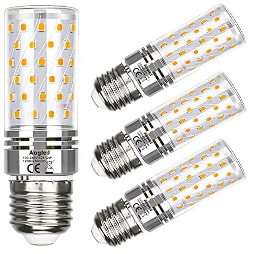E27 LED Glühbirne Lampe 12W,Entspricht 100W Brine,Aogled Warmweiß 3000 K,1200LM Maiskolben,Kandelaber LED,Nicht Dimmbar,Kein Flackern AC85-265V,4er Pack
