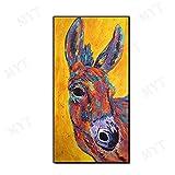 Handgemalte Ölgemälde Kunstwerk Auf Leinwand, Große Bstract Tierfarbe Esel Kunst Bilder Für Raumdekoration Kinderzimmer Zoo Café, 130 × 260 cm (52 × 104 Zoll)
