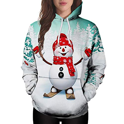 Funst Weihnachtspullover Damen Lustig Ugly Lang Baumwolle Damen Langarm Sweatshirt...