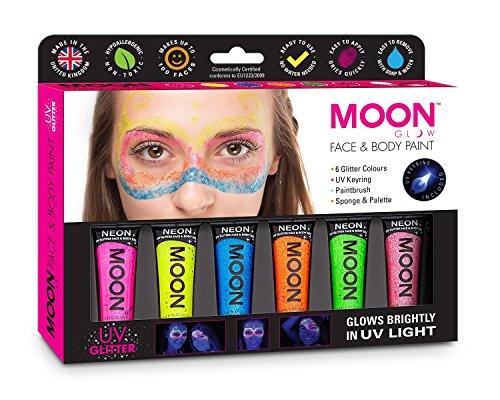 Moon Glow - UV Néon maquillage Gel pailleté visage et corps Ensemble cadeau - Comprend 6 tubes UV, porte-clés, pinceau et éponge