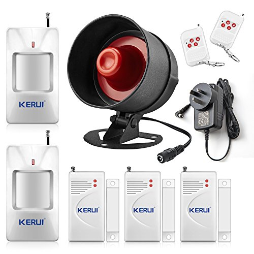 KERUI Upgraded Standalone Home Office Shop Security Alarm System Kit,Wireless Loud Indoor/Outdoor Weatherproof Siren Horn with Remote Control and Door Contact Sensor,Motion Sensor,Up to 115db Standalone Home Office Shop Security Alarm System Kit, Wireless Loud Indoor/Outdoor Weatherproof Siren Horn with Remote Control and Door Contact Sensor,Motion Sensor,Up to 110db