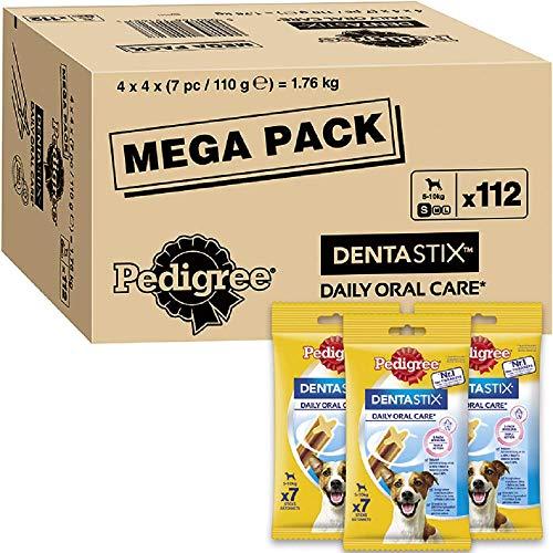 Pedigree DentaStix Daily Oral Care Zahnpflegesnack für kleine Hunde – Hundeleckerli mit Huhn- & Rindgeschmack für jeden Tag – 1 x 112 Stück