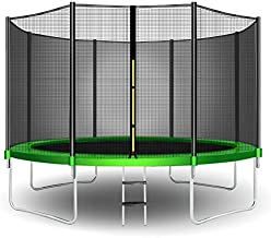 CalmMax Trampoline 12FT Jump Recreational Trampolines with Enclosure Net - ASTM Approved - Combo Bounce Outdoor Trampoline for Kids Family Happy Time